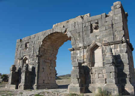 Triumphal arch in roman town Volubilis, Morocco