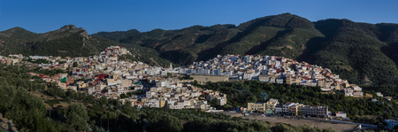 volubilis: Panorama view over the holy city of Moulay Idriss Zerhoun including the tomb and Zawiya of Moulay Idriss, Middle Atlas, Morocco, North Africa
