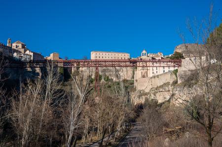 San Pablo bridge and Parador de Cuenca. Saint Paul monastery in the outskirts of Cuenca,  Spain Stock Photo