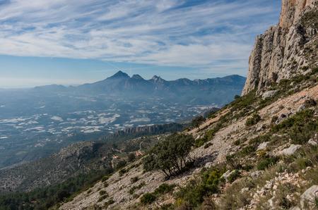 sierra: View form slope of Sierra de Bernia mountains range, near Benidorm, Spain