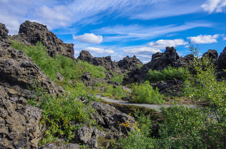 Dimmuborgir - a rock town near the Lake Myvatn in northern Iceland with volcanic caves, lava fields and rock formations