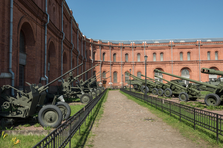 Sankt-Peterburg, Russia -  August 12, 2017: Exposition on courtyard of Military History Museum of artillery, engineer and signal corps in St. Petersburg. Redakční