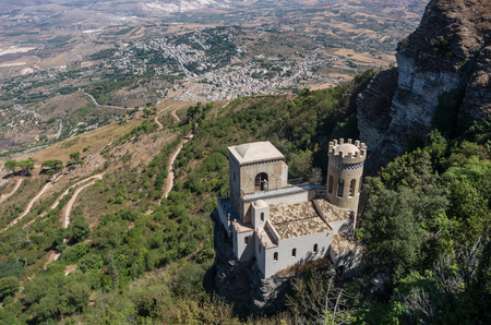 erice: The Torretta Pepoli - Little castle in old historic Sicilian town, Erice, Italy