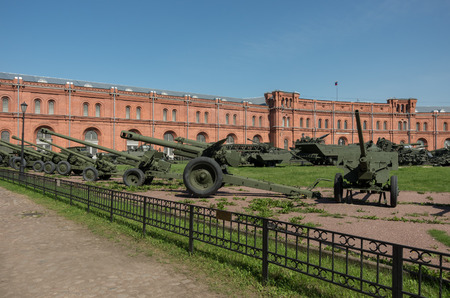 Sankt-Peterburg, Russia -  August 12, 2017: Exposition on courtyard of Military History Museum of artillery, engineer and signal corps in St. Petersburg. Editorial