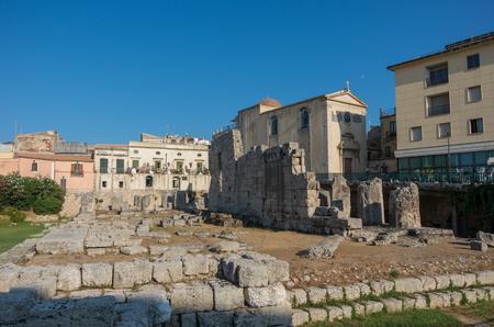 ortigia: Ruins of Temple of Apollo in Syracuse, (Siracusa) Sicily.