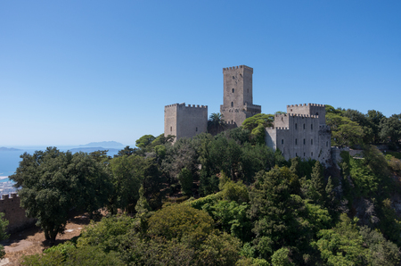 erice: View of the Norman castle called Torri del Balio  in Erice, Sicily, Italy