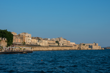 Sunset in Embankment of Ortygia island, Syracuse city, in Sicily. Stock Photo