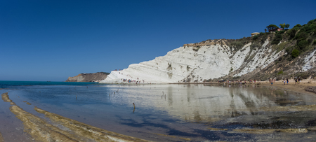 Panoramic view of the famous Scala dei Turchi cliff near Agrigento, Sicily