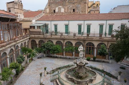Baroque fountain in courtyard church Chiesa di Santa Caterina. Palermo, Italy. Editorial