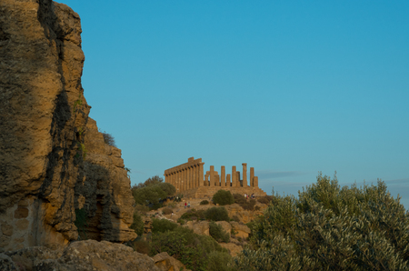 Temple of Juno located in the park of the Valley of the Temples in Agrigento, Sicily, Italy