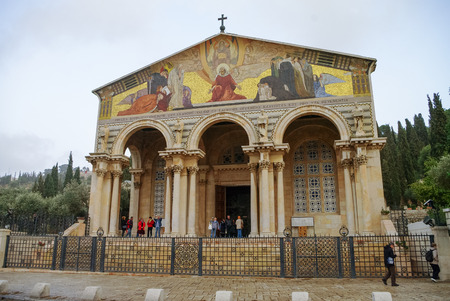 Jerusalem, Israel. - December 11, 2010: The Church of All Nations or Basilica of the Agony, is a Roman Catholic church near the Garden of Gethsemane at the Mount of Olives in Jerusalem, Israel.