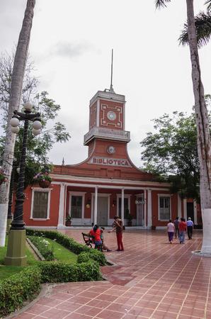 Lima, Peru- January 1, 2014: View of the Barranco town municipal library and Parque de Barranco.