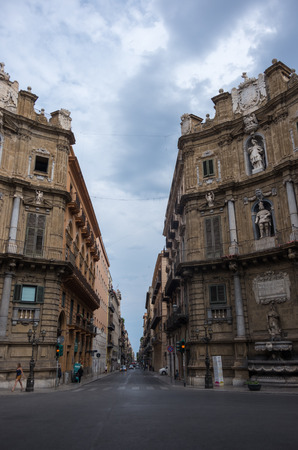 Palermo, Sicily, Italy - September 7, 2017:   Palermo central square of Quattro Canti  , Sicily, Italy Editorial