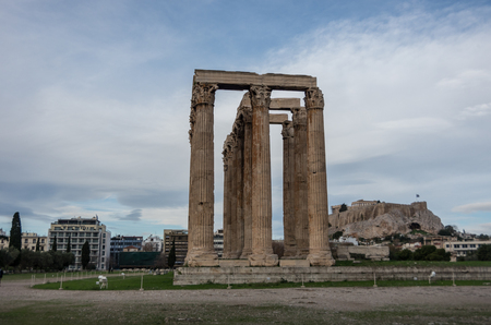 Athens, Greece - December 28, 2017: Temple of Olympian Zeus and Acropolis Hill