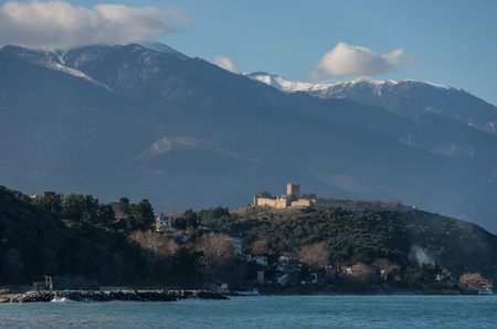 Panoramic view of the famous castle of Platamonas with Mount Olympus in the background
