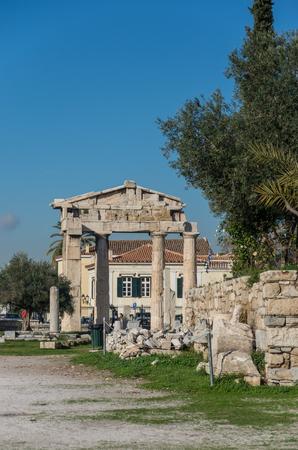 Arch in Roman Agora archaeological site. Athens, Greece.