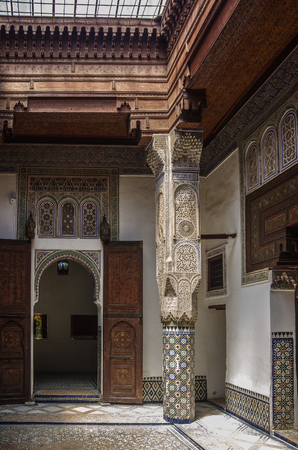 Meknes, Morocco - May 8, 2017:  Interior o f Dar Jamai Museum in El Hedim square in Meknes, Morocco.