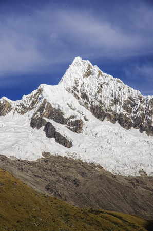 Glacier of the Alpamayo Mount, one of the highest mountain peaks in Peruvian Andes, Cordillera Blanca Stock Photo