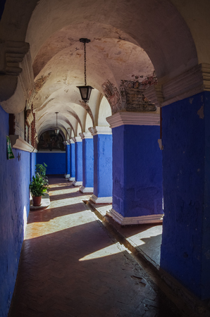 Arequipa, Peru - January 2, 2014:   Colorful walls inside of monastery of St. Catherine at Arequipa, Peru
