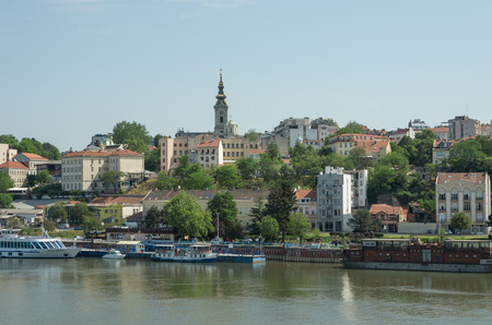 Belgrade, Serbia - April 30, 2018: Beautiful view of the historic center of Belgrade on the banks of the Sava River, Serbia
