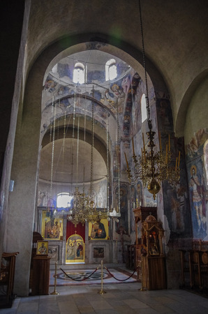 Kraljevo, Serbia -May 5, 2018: Interior with frescoes in church of Serbian Orthodox Monastery Zica, Kraljevo