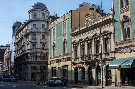 Belgrade, Serbia - May 1, 2018: Street in the center of Belgrade city at sunny spring day.
