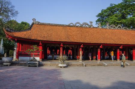 Hanoi, Vietnam - January 1, 2015 : The Temple of Literature ( Van Mieu ) in Hanoi, Vietnam