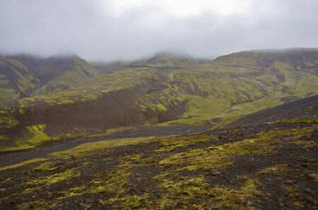 View to Thjofadalir valley in Iceland highlands. Cloudy summer day.