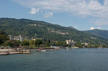 Embankment of Maggiore lake, cityscape of Stresa, Piedmont Italy, Europe.