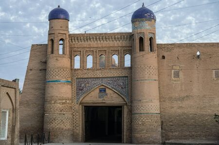 West gate (Palvan Darvoza) of Khiva old city, Itchan Kala. Khiva,  Uzbekistan