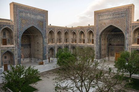 Courtyard of Ulugbek Madrasah on Registan Square in Samarkand, Uzbekistan