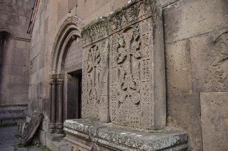 The amazing carved patterns on the medieval khachkars, created by 13th century carver Pavgos in Goshavank Monastery, Gosh, Armenia.