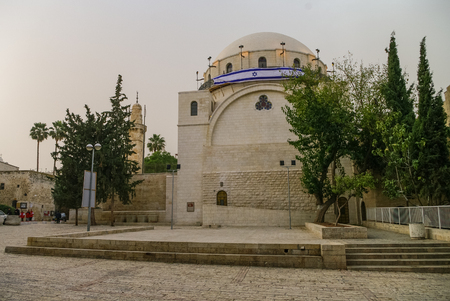 The Hurva Synagogue in Jewish quarter, Old City of Jerusalem in Israel