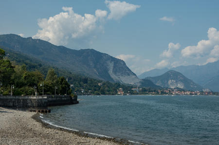 Beach and town embankment in Stresa, Maggiore lake, Italy, Europe