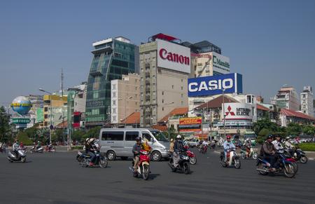 Ho Chi Minh, Vietnam - January 15, 2015: Trafiic of Quach Thi Trang roundabout Editorial
