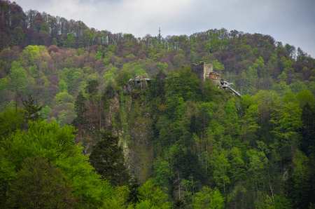 Poenari Fortress is Vlad Tepes castle, prince of medieval Wallachia, modern Romania Editorial