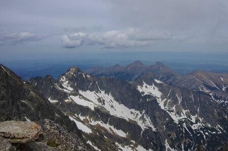 High Tatras panorama from  Lomnicky peak view point, Slovakia. Standard-Bild