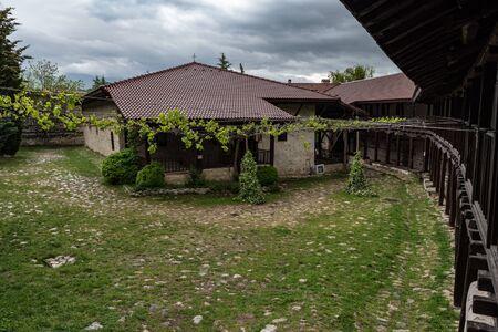 In courtyard of The Medieval Orthodox Monastery of Rozhen, near Melnik, Bulgaria
