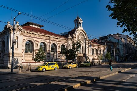 Sofia, Bulgaria - May 2, 2019: Knyaginya Maria Louise Boulevard and Central Sofia Market building.