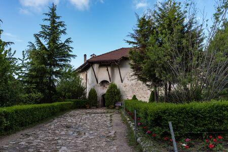 Melnik, Bulgaria - May 6, 2019: Gate of The Medieval Orthodox Monastery of Rozhen, near Melnik