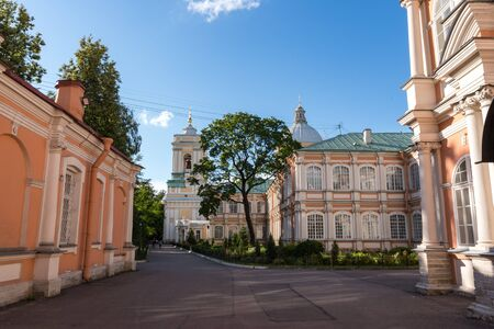 Saint-Petersburg, Russia - July 2, 2019:  Alexander Nevsky Lavra (Monastery) in Saint Petersburg, Russia. Holy Trinity Cathedral Editorial