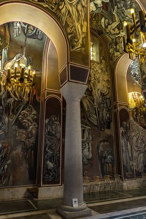 Veliko Tarnovo, Bulgaria - 8 may, 2019: Inside Interior view of Patriarch Eastern Orthodox Church inside Tsarevets fortress. The Patriarchal Cathedral of the Holy Ascension of God Editorial