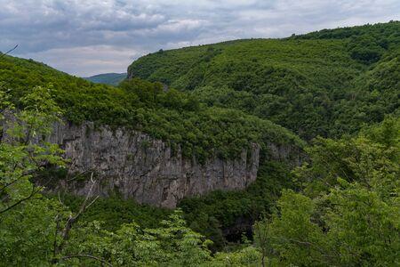 Panoramic view of canyon of Dryanovo river nearMonastery St. Archangel Michael, Gabrovo region, Bulgaria