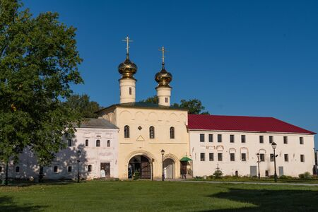 Holy gates and Kelar cells in the Tikhvin Assumption (Assumption) monastery. Tikhvin, Russia