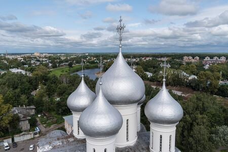 Domes of St. Sophia Cathedral in the Vologda Kremlin and city panorama from bell tower of cathedral. Vologda, Russia