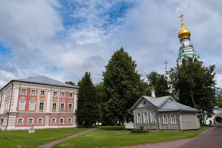 Joseph Corps (chambers of Joseph the Golden) and summer house in the Vologda Kremlin and Saint Sophia Cathedral belfry. Vologda, Russia