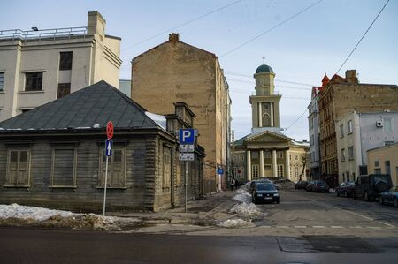 Riga, Latvia - March 7, 2011:  View to Heart of Jesus Evangelical Lutheran Church from Elijas street. Banco de Imagens