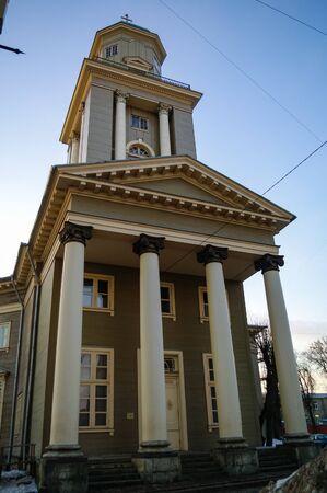 View to Heart of Jesus Evangelical Lutheran Church. Riga, Latvia Banco de Imagens