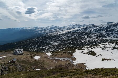 Aerial veiw mountain landscape with Seven Rila Lakes hut in National Park Rila, Bulgaria