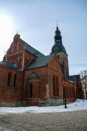 Historical building of Riga Dome Cathedral, Latvia. Banco de Imagens
